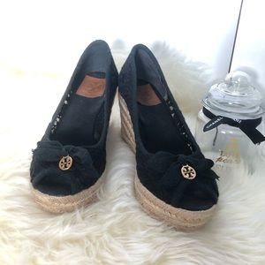 Tory Burch black lace peep toe cotton wedges